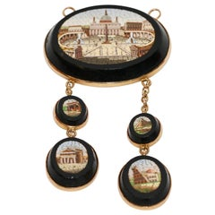 Antique Micro Mosaic Pendant, Necklace, Enhancer Gold, Early 19th Century