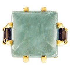 Valentin Magro Aquamarine Cabochon Iolite 18 Karat Yellow Gold Ring
