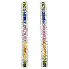 White Gold Diamond and Multicolored Sapphire Drop Earrings