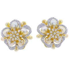 Fine Floral Pearl and Diamond Earrings, 18 Karat Yellow Gold