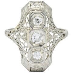Art Deco 0.40 Carat Diamond 18 Karat White Gold Dinner Ring