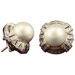 Dirce Repossi Australian White South Sea Pearl Diamond White Gold Stud Earrings