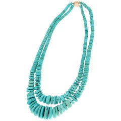 Turquoise 9 Karat Yellow Gold Clasp Multi-Strand Necklace