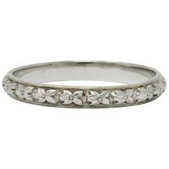 Belaisi Art Deco 14 Karat White Gold Wedding Band Ring