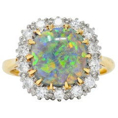 Edwardian Black Opal Diamond Platinum 18 Karat Gold Ring