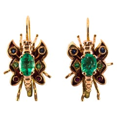 2.20 Carat Emerald Ruby Blue Sapphire Yellow Gold Lever Back Butterfly Earrings