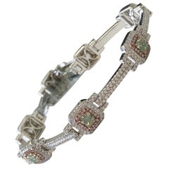 Natural Green, Pink, and White Diamond Round Bracelet in 18 Karat White Gold