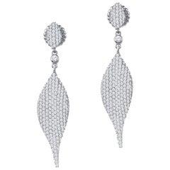 5.14 Carat Total Weight Diamond Modern Leaf Dangle Earrings in 14 Karat Gold