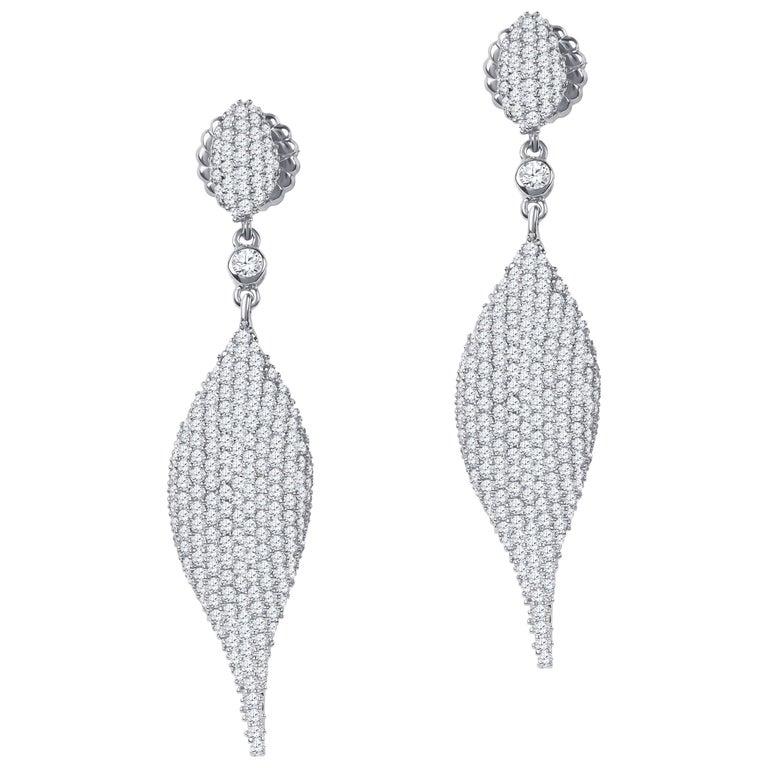 5.14 Carat Total Weight Diamond Modern Leaf Dangle Earrings in 14 Karat Gold 1