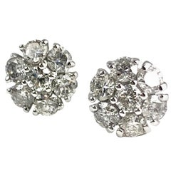 0.90 Carat Diamond Flower Earring in 14 Karat White Gold