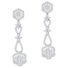 3.65 Carat Total Weight Diamond Flower Design Drop Earrings in 18 Karat Gold