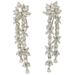 18.92 Carat White Pear Shape, Marquise and Baguette Diamond Chandelier Earrings