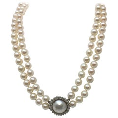 Japanese Cultured Double Strand Pearl with 14 Karat Diamond and Moby Pearl Clasp