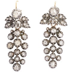 18th Century Georgian Rose Cut Diamond Day and Night Earrings