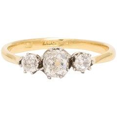 Antique Victorian Cushion Cut Diamond Trilogy Ring