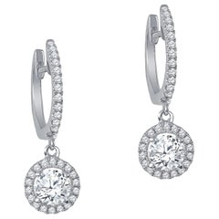 0.93 Carat Total Weight of Round Brilliant Diamond Halo Dangle Earrings