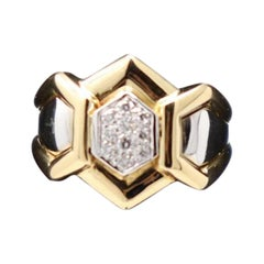 Gold and 0.12 Carat Diamonds Signert Ring by Gianni Carità