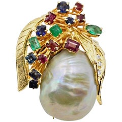 Large Gold Baroque Pearl Emerald Ruby Sapphire Diamond Brooch Pin Pendant