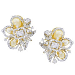 Fine Ribbon-Style Pearl and Diamond Earrings, 18K Yellow Gold