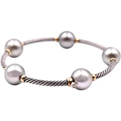 David Yurman Sterling Silver and 18 Karat Yellow Gold with Tahitian Pearl Bangle