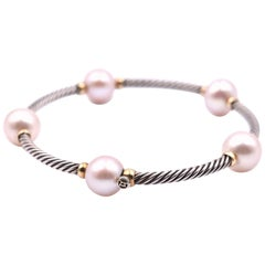 David Yurman Sterling Silver and 18 Karat Yellow Gold with Pink Pearl Bangle