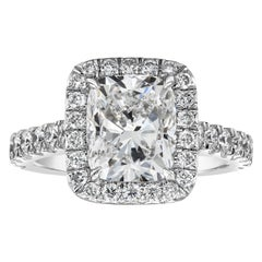 GIA Certified 3.02 Carat Cushion Diamond Halo Engagement Ring