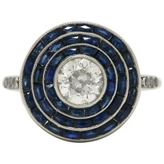 Art Deco Style Antique Diamond Blue Sapphire Target Engagement Ring 2.28 Carat