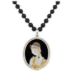 "Erte ""Salome"" Brooch Pendant and Bead Necklace"