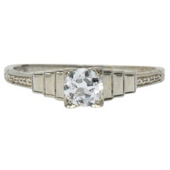 Art Deco 0.40 Carat Diamond 18 Karat White Gold Engagement Ring