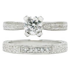 Tacori Diamond Solitaire Platinum Engagement Ring Wedding Band Set Certified