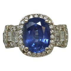 14 Karat White Gold Ceylon Blue Sapphire and Diamond Cocktail Ring