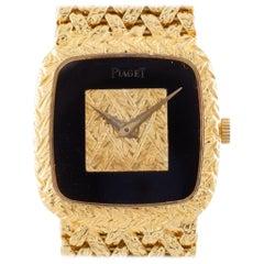 Piaget Ladies 18k Gold Wristwatch, Onyx Dial, 18 Jewel, Certificate, Ref. 9902D2