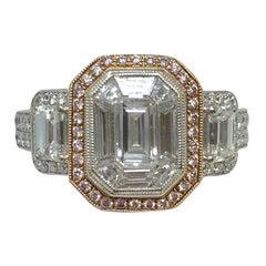 18 Karat White Gold 1.83 Carat Simon G Diamond Emerald Cut Engagement Ring
