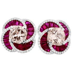 2.48 Carats Round Morganite w/ Ruby & Diamond 14K White Gold Flower Stud Earring