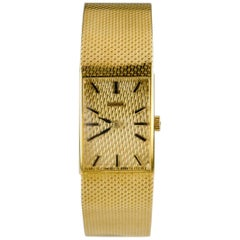 Juvenia Women's 18 Karat Gold Square Hand-Winding Watch with Gold Mesh Band