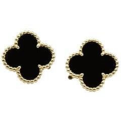 Van Cleef & Arpels Vintage Alhambra Yellow Gold Onyx Earrings