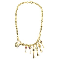 Vintage 18 Karat Lock and Key Charm Necklace