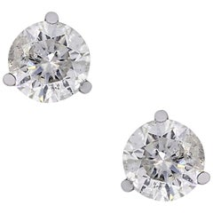 Round Brilliant Diamond Three Prong Stud Earrings