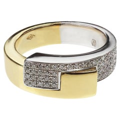 French Diamond Ring in 18 Carat Yellow and White Gold