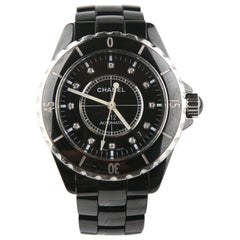 Chanel J12 Diamond Dial Steel Black Ceramic H0685 Automatic Wristwatch