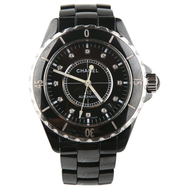 1d015e7bae9 Chanel J12 Diamond Dial Steel Black Ceramic H0685 Automatic Wristwatch For  Sale