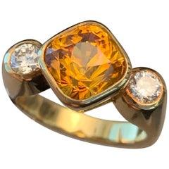 4.8 Carat Yellow-Orange Sapphire and Diamond Ring, Ben Dannie