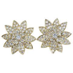 Van Cleef & Arpels Lotus Medium Model Rose Gold with Diamond Earrings