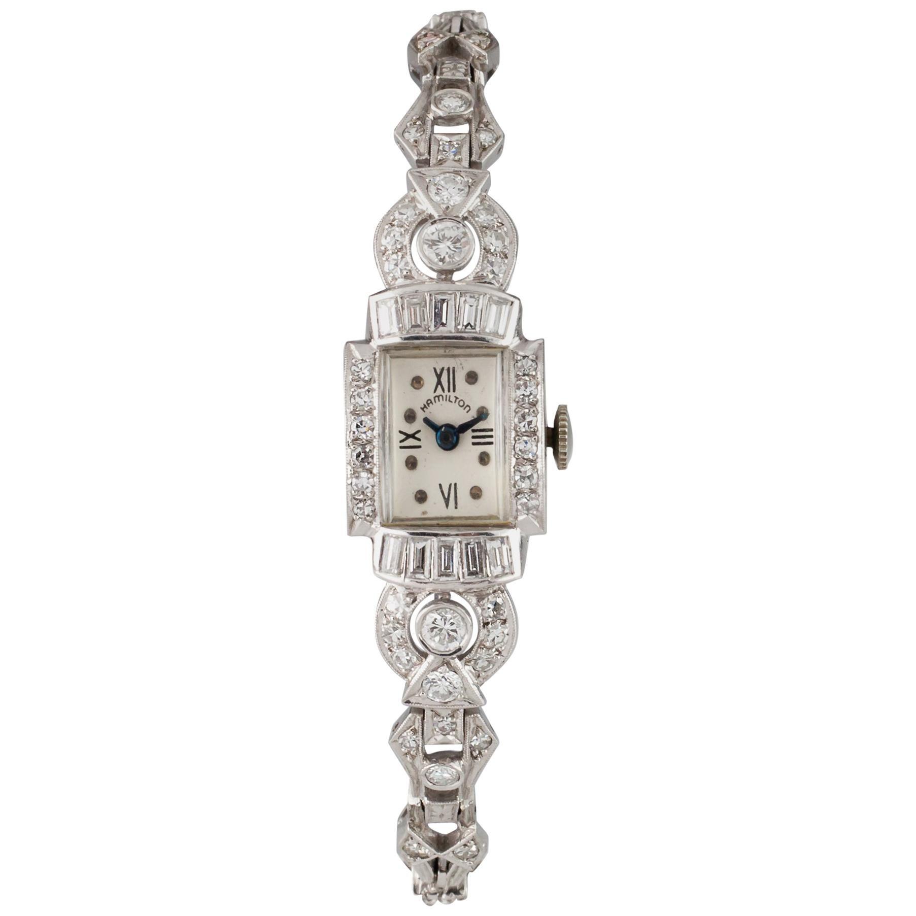 Hamilton Platinum Diamond Women's Mechanical Hand-Winding Art Deco Watch