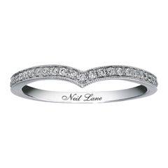 Neil Lane 1/5 Carat Curved Diamond Wedding Band Ring 14 Karat White Gold