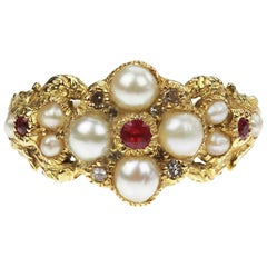 Victorian Natural Pearl, Diamond and Ruby Ring in 18 Carat Yellow Gold