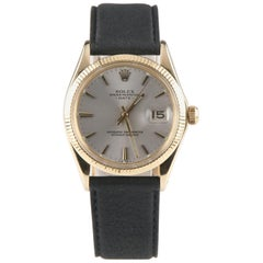 Rolex Oyster Perpetual Date #1503 14 Karat Gold with Leather Band Men's Watch