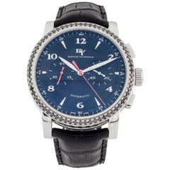 David Yurman Classic Chronograph Stainless Steel Watch with Black Diamond Bezel