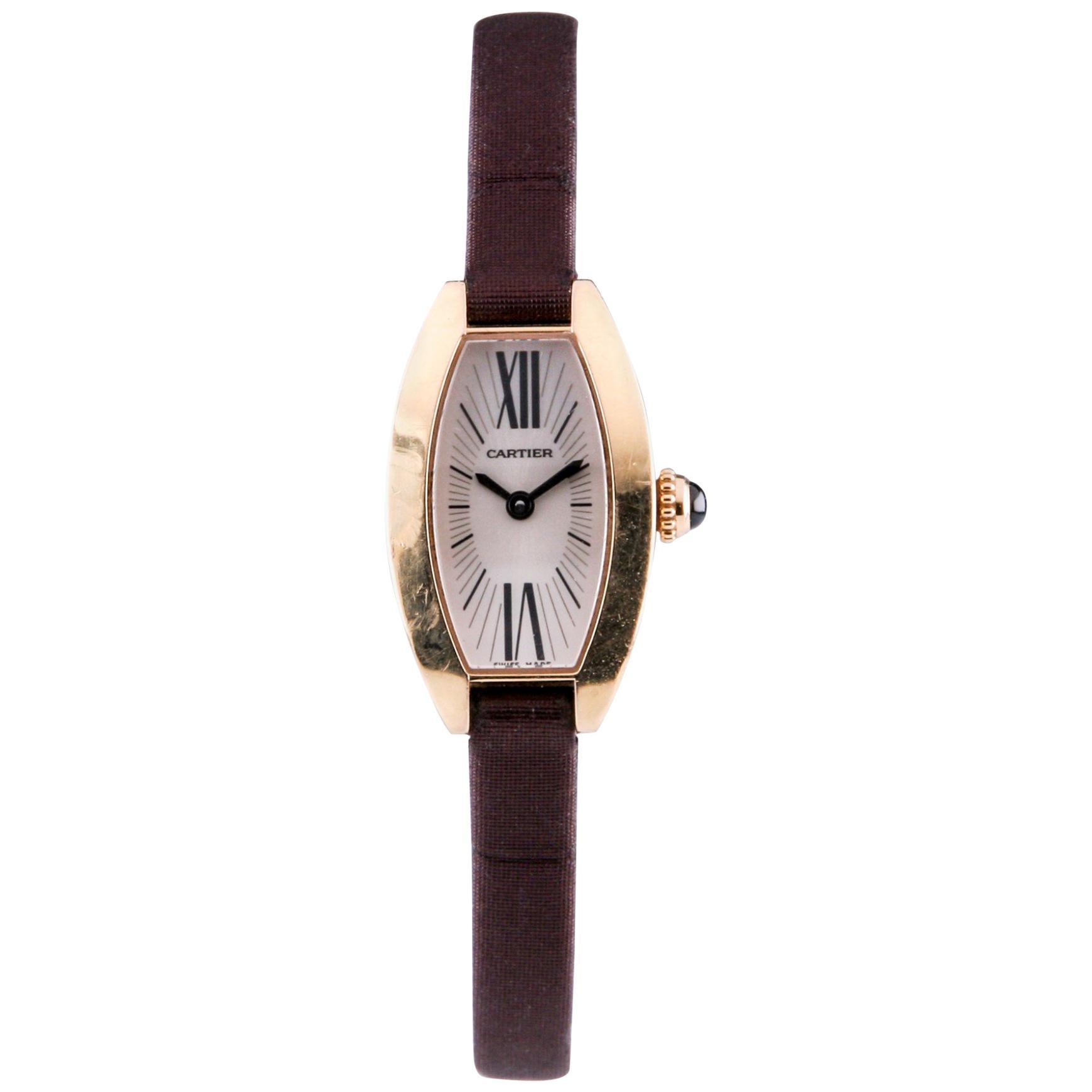 Cartier Mini Tonneau Lanieres 2592 18 Karat Gold Quartz Watch with Original Band