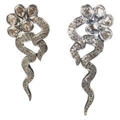One of a Kind 14 Karat and Sterling Diamond Avant Garde Fashion Earrings